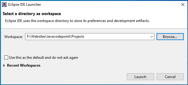 Select a directory as workspace