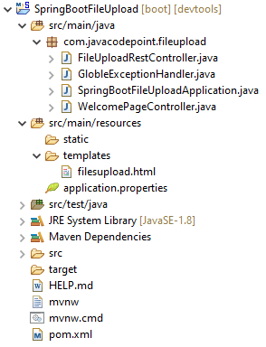 spring boot eclipse project structure